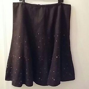 Coldwater Creek Brown Tweed Sequin Skirt 18